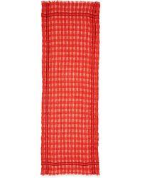 Eileen Fisher Airy Grid-striped Linenwool Scarf - Lyst