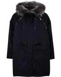 Parka London Nova Navy Parka with Fur Hood - Lyst