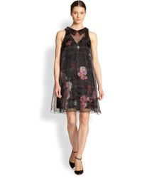 Honor Organzaoverlay Rose Print Dress - Lyst
