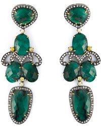 Gemco - Drop Emerald Chandelier Earrings - Lyst