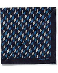 Boglioli - Rectangle Print Silk Pocket Square - Lyst