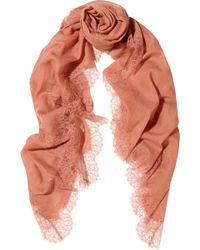 Valentino Lace-trimmed Wool-voile Scarf - Lyst