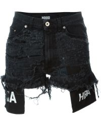 Hood By Air Distressed Denim Shorts - Black