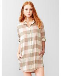 Gap Plaid Brushed Cotton Nightshirt - Natural