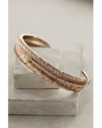 Anthropologie Pink Feathered Cuff - Lyst