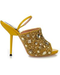 Rochas Crystal-Embellished Leather Sandals - Lyst