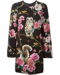 Dolce & Gabbana Enchanted Forest Mini Dress - Lyst
