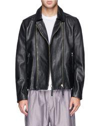 Paul Smith Leather Biker Jacket black - Lyst