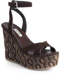 Miu Miu Suede Wooden Wedge Sandals - Lyst