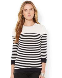 Lauren by Ralph Lauren Petite Striped Zip-shoulder Sweater - Lyst