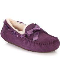 Ugg Dakota Shearling-Lined Snake-Embossed Suede Loafers purple - Lyst