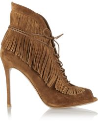 Gianvito Rossi Fringed Lace Up Suede Ankle Boots - Lyst