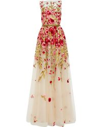 Naeem Khan Floral Embroidered Sleeveless Gown - Lyst