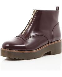 River Island Red Zip Front Chunky Sole Boots - Lyst