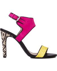 Chelsea Crew - Jelly Lime Fuchsia Woven Heel Slingback Sandals - Lyst
