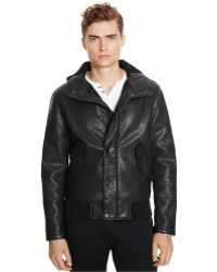 Kenneth Cole Reaction | Faux-leather Hooded Jacket | Lyst