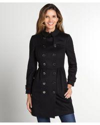 Burberry Black Wool Cinch Waist Fur Collar Coat - Lyst