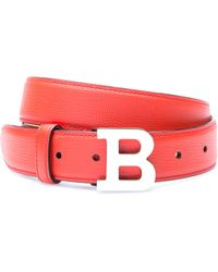 Bally Coral Leather Skinny Logo Belt - Lyst