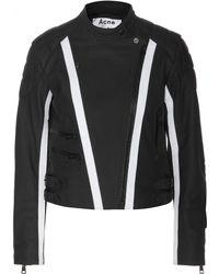 Acne Studios Moi Scuba Leather Biker Jacket - Lyst