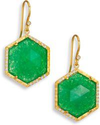 Mija - Dark Green Jade & White Sapphire Hexagon Drop Earrings - Lyst