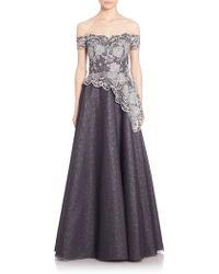 Kay Unger | Off-shoulder Lace Gown | Lyst