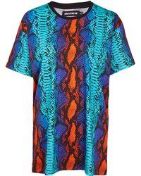 House Of Holland Blue Oversize Snake Print Cotton T-Shirt - Lyst