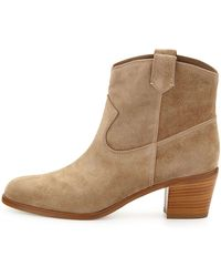 Gianvito Rossi Suede Western Ankle Bootie - Lyst