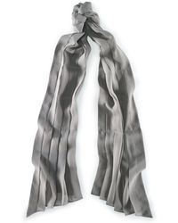 Ralph Lauren Pleated Silk Chiffon Scarf gray - Lyst