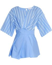 Jonathan Saunders Siobhan Pleated Striped Cotton-Poplin Top blue - Lyst