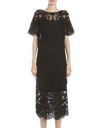 Suno Lace Embroidered Midi Dress black - Lyst