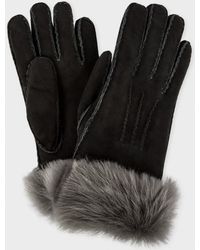 Paul Smith Women's Charcoal Gray Shearling Sheepskin Gloves - Black