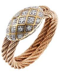 Charriol Women'S Classique 18K Yellow Gold Rose-Tone Steel Diamond .10Tcw Ring - Lyst