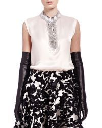 Lanvin Long Leather & Suede Gloves - Lyst