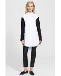 Carven Colorblock Oxford Tunic Shirt - Lyst