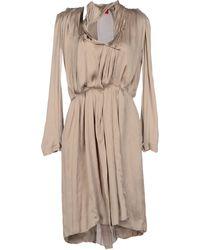 Lanvin Deep Neckline Satin Gray Short Dress - Lyst