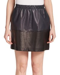 Vince Colorblock Leather Skirt black - Lyst