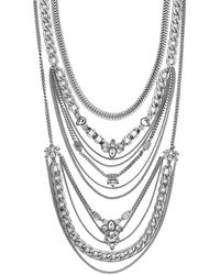 BCBGeneration Drama Mixed Silver-tone and Clear Stone Multi-layer Necklace - Lyst