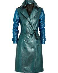Burberry Prorsum Metallic Texturedleather Trench Coat - Lyst