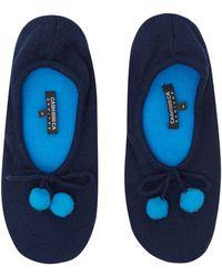 CASH CA - Navy Pom Pom Cashmere Slippers - Lyst