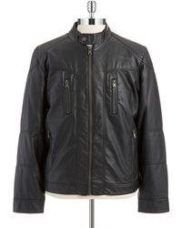 Calvin Klein Crew Neck Moto Jacket - Lyst