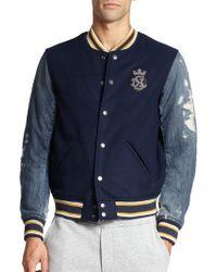 Diesel Mixed-Media Varsity Jacket blue - Lyst