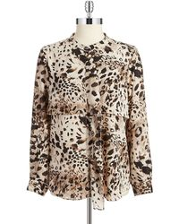 Vince Camuto Animal Print Ruffled Blouse - Lyst