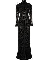 Zuhair Murad Floor-Length Flocked Velvet Gown - Lyst