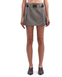 Paco Rabanne Womens Belted Mini Checked Skirt - Lyst