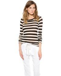 Enza Costa Cashmere Stripe Crew Neck Sweater - Lyst