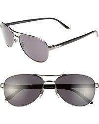 Gucci 58Mm Aviator Sunglasses - Dark Ruthenium - Lyst