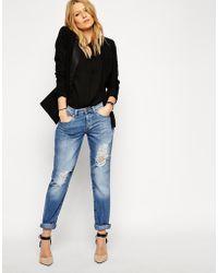 Asos Brady Low Rise Boyfriend Jeans In Vintage Wash With Rips blue - Lyst