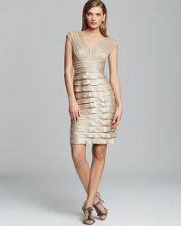 Adrianna Papell - Dress Cap Sleeve V Neck Tiered Sheath - Lyst