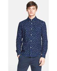 Band of Outsiders Extra Trim Fit Floral Print Sport Shirt - Lyst