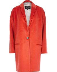 River Island Red Oversized Coat - Lyst